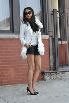 Red Soles and Red Wine - Chicago Fashion Style Blog:  Elizabeth and James blazer, Louboutin pumps