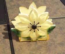 Vintage Lucite Acrylic Napkin Letter Holder Flower Shaped Retro Kitchen