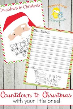 Get ready to countdown to Christmas with your little ones. Grab this fun Letter to Santa template and the Santa advent calendar! | homeschoolpreschool.net