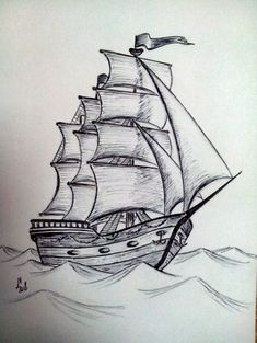 Trendy Boats Tattoo Drawing - Dibujos a lápiz - Drawing . Boat Drawing, Pencil Sketch Drawing, Ship Drawing, Pencil Art Drawings, Painting & Drawing, Drawing Drawing, House Drawing, Cool Art Drawings, Art Drawings Sketches