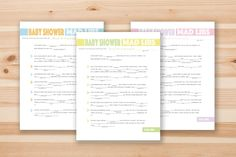 Project Nursery - Free Printable Baby Shower Mad Libs
