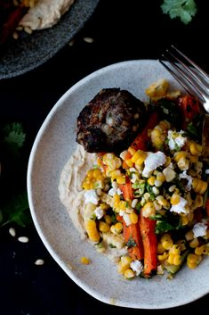 Ottolenghi's Lamb Kofta with Corn, Zucchini & Roasted Carrot Salad