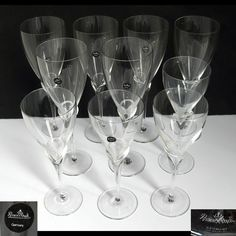 Rosenthal Studio Crystal Stemware Calice 6 Water / 4 Wine Glass CLEAR TULIP STEM #RosenthalStudio