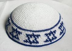 kippah white with blue Stars of David by crochetkippah on Etsy