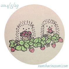 イチゴ狩り。#ハリネズミ 162 strawberry picking #hedgehog #illustration #drawing #イラスト #ペン画 #illustagram