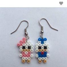 iMiniCph ~ Homemade Andersine og Anders And mini Hama perle øreringe, til salg på BeKuhlmann.dk