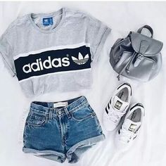 Waist Jeans tshirt Shirt: adidas t- top addidas grey t- denim shorts adidas top crop tops shorts hi. Shirt: adidas t- top addidas grey t- denim shorts adidas top crop tops shorts high waisted shorts Teen Fashion Outfits, Mode Outfits, Trendy Outfits, Fall Outfits, Trendy Fashion, Fashion Women, Fashion Spring, Cute Casual Outfits For Teens, 90s Fashion