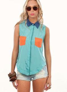 Asymmetrical Contrast Light Blue Sleeveless Shirt,  Top, color block  collar shirt, Chic  WANT!!!