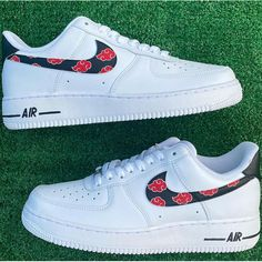 Custom Air Force 1 Akatsuki Clouds Design Painted Canvas Shoes, Hand Painted Shoes, Custom Jordans, Custom Air Force 1, Vans Sneakers, On Shoes, Nike Air Force, Clouds, Painting Shoes