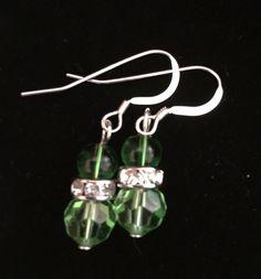 Green Swarovski and Glass Crystal Earrings