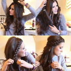 easy braid hairstyle for growing out bangs or if you can't braid