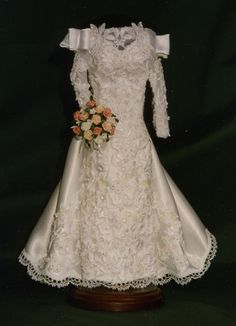 Heirloom Textile Art - Gallery of GownsReplica MiniatureGowns...approximately 11 inches tall