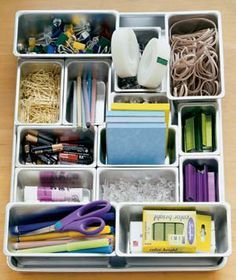 Create Your Own Desk Organizer Don't be limited by prefab desk organizers that don't have enough of the right-size compartments. Instead, use miniature loaf tins to design your own portable system.
