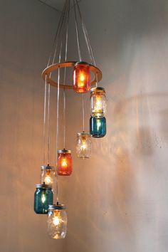 Red, White, Blue Mason Jar Lighting Chandelier