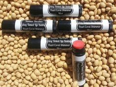 Soy Tinted Lip Balm Pearl Coral Shimmer in Mint by TaniasTorches, $6.00 Tinted Lip Balm, Lip Tint, Clogged Pores, Corporate Gifts, Shea Butter, The Balm, Essential Oils, Coral, Lips