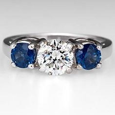 Three Stone Diamond w/ Sapphire Accents Engagement Ring 14K White Gold - EraGem