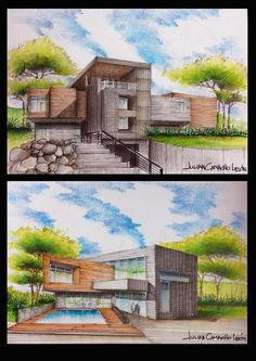 Space, shape, light, volume and emotion! Interior Architecture Drawing, Interior Design Renderings, Architecture Concept Drawings, Watercolor Architecture, Architecture Sketchbook, Architecture Portfolio, Facade Architecture, Architecture Diagrams, Perspective Art
