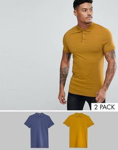 1a37d0d8119 ASOS DESIGN muscle fit jersey polo 2 pack save Tank Shirt