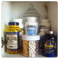 Organized and tidied my #supplements cabinet. Only some of the pills I'd like to be taking, mainly from #KirklandSignature, which is a #Costco brand and of course #HollandAndBarrett. Not included are my powders, which are stored separately. #antioxidants #awesome #bcomplex #codliveroil #coQ10 #grapeseedextract ##minerals #nutrition #tbomb #tribulus #vitaminc