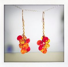 clusters of fire colored czech glass   by BrioletteVines, $35.00