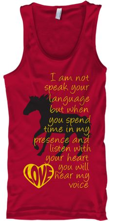 """You will hear my voice"" Horse T shirt .Available for limited time Love your horse and hear her voice for you.Beautiful color and tank top design Horse T shirt for man and woman.Grab yours here.How to order:1.Select style and color2. Click buy it now.3.Select size and quantity"