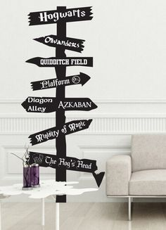 Harry Potter road sign Vinyl wall Decal inspired by fandom Fantasy Hogwarts Ministry Magic Olivanders snitch knockturn alley gringotts leaky cauldron Décoration Harry Potter, Harry Potter Nursery, Harry Potter Classroom, Vinyl Signs, Wall Signs, Vinyl Wall Decals, Hogwarts, Fandoms, Room Decor