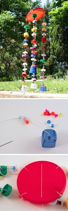 Recycled Plastic Lid Windchime   Click Pic for 22 DIY Spring Crafts for Kid to Make   Easy Spring Craft Ideas for Toddlers