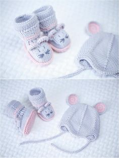 Knitted baby booties and hat mouse 100% merino