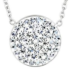 ELYA Stainless Steel Crystal Circle Necklace | Overstock.com Shopping - Top Rated West Coast Jewelry Crystal, Glass & Bead Necklaces
