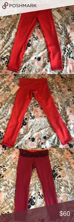 NWOT LULULEMON REVERSIBLE 7/8 PANTS (ORANGE/RED) Brand new never worn Lululemon 7/8 pants! They're REVERSIBLE, one side is orange and other is deep red, perfect for all seasons ❤️ :) Full on Luon and Size 8! Unfortunately took the tag off, but they're brand brand new and never worn before! No trades please! lululemon athletica Pants Leggings