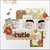 A Project by yuko tanaka from Two Peas in a Bucket Scrapbooking Gallery (originally submitted 04/09/12 at 11:08 PM) - love how this layout looks so clean while still incorporating 3 pics and lots of embellishments!