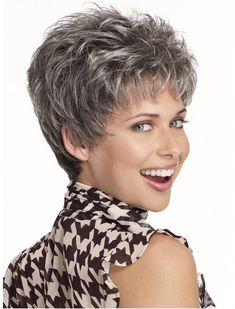 Tsnomore Chic Short Straight Sugared Charcoal with Grey Women Wig