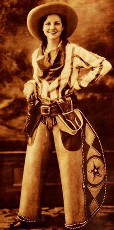 Actress Annabelle Wickstead in a wonderful Western ensemble, by bessie Cowgirl And Horse, Cowboy And Cowgirl, Cowgirl Chic, Cowgirl Style, Mode Country, Country Girls, Cow Girl, Vintage Cowgirl, Vintage Ladies
