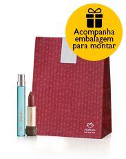 Presente Natura Biografia + Aquarela - Desodorante Colônia + Batom Hidratante + Embalagem