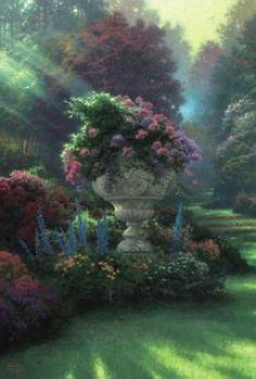 The Garden of Hope (Ogrod nadziei) Fantasy Garden, Garden Art, Garden Design, Kinkade Paintings, Art Paintings, Nature Paintings, Beautiful Gardens, Beautiful Flowers, Beautiful Beautiful