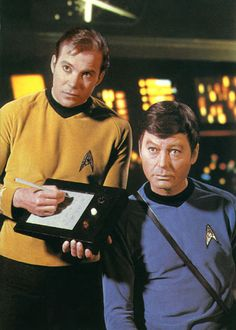Nice pic, but Kirk looks spooked ...  Is that an etch a sketch?