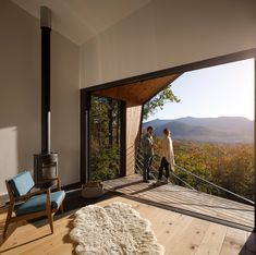Tagged: Doors, Sliding Door Type, Exterior, and Metal. Photo 7 of 18 in A Prefab Cabin in New Hampshire Is a Magnificent Mountain Retreat Prefab Cabins, Prefab Homes, Cabana, Cabin Design, House Design, Forest Cabin, Cabin In The Woods, Modern Door, Types Of Doors
