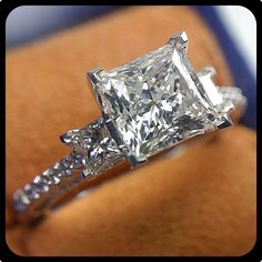 Amazing three stone engagement ring by @Verragio. Fit for a princess!
