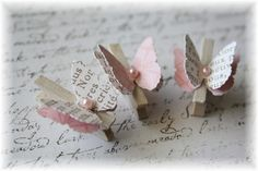 Mini Wooden Clothes Pin Butterfly Embellishment by LittleScrapShop, $2.50