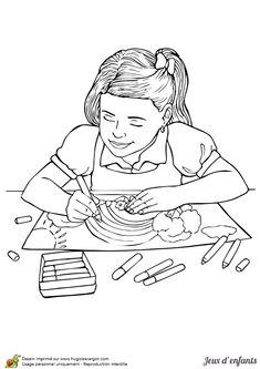 un petit gar on qui joue dehors dessin colorier coloriages enfants pinterest. Black Bedroom Furniture Sets. Home Design Ideas