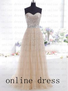 Ivory Sequins Modest Strapless Long Prom Dress by onlineDress, $145.00