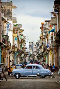 Havana, Cuba #blue #vintage #car