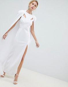 Buy ASOS DESIGN premium cape maxi dress at ASOS. Get the latest trends with ASOS now. White Maxi Dresses, White Dress, Crochet Beach Dress, Mini Shirt Dress, Topshop, Event Dresses, Photoshoot Dresses, Cape Dress, Going Out Dresses