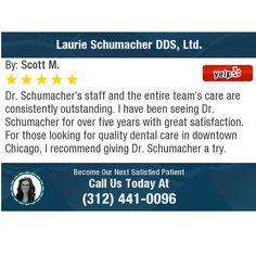 Dr. Schumacher's staff and the entire team's care are consistently outstanding. I have...