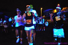 www.NeonSplashDash.com - Crazy Fun 5k Run! The MOST FUN you can have in the Dark! Neon Glow Night UV Blacklight glow-in-the-dark lose weight running runners mud obstacle color The Color Run challenge color me rad glow run