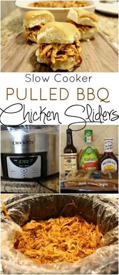 Looking for a super easy crockpot dinner that everyone in your family will eat? These Slow Cooker Pulled BBQ Chicken Sliders are tender, juicy and delicious. Best Slow Cooker, Slow Cooker Recipes, Crockpot Recipes, Cooking Recipes, Crockpot Bbq Chicken, Chicken Bbq Sliders, Chicken Recipes, Yummy Recipes, Chicken Cooker