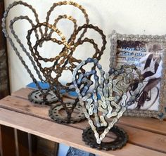 up cycled bike chain heart sculptures