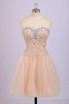 AHC175 Champagne Homecoming Dress,Sweetheart Neck Lace Appliqued Bodice Short Prom Dress