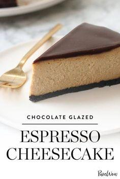 Chocolate Glazed Espresso Cheesecake via Just Desserts, Delicious Desserts, Dessert Recipes, Flan, Espresso Cake, Espresso Coffee, Iced Coffee, Coffee Drinks, Coffee Shop