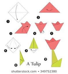 step by step instructions how to make origami A Tulip. Origami Rose, 3d Origami Herz, Tulip Origami, Origami Ribbon, Kids Origami, How To Make Origami, Paper Crafts Origami, Origami Hearts, Dollar Heart Origami
